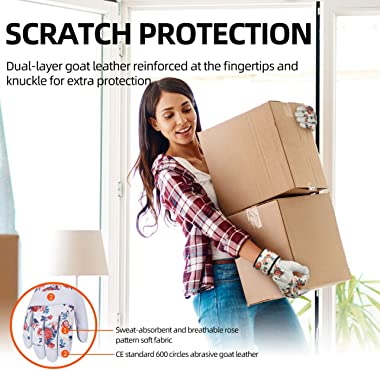 Vgo 1-Pair Premium Genuine Goat Leather Puncture Resistant Palm and Fingertips Gardening Gloves (Size M, White, GA3651)