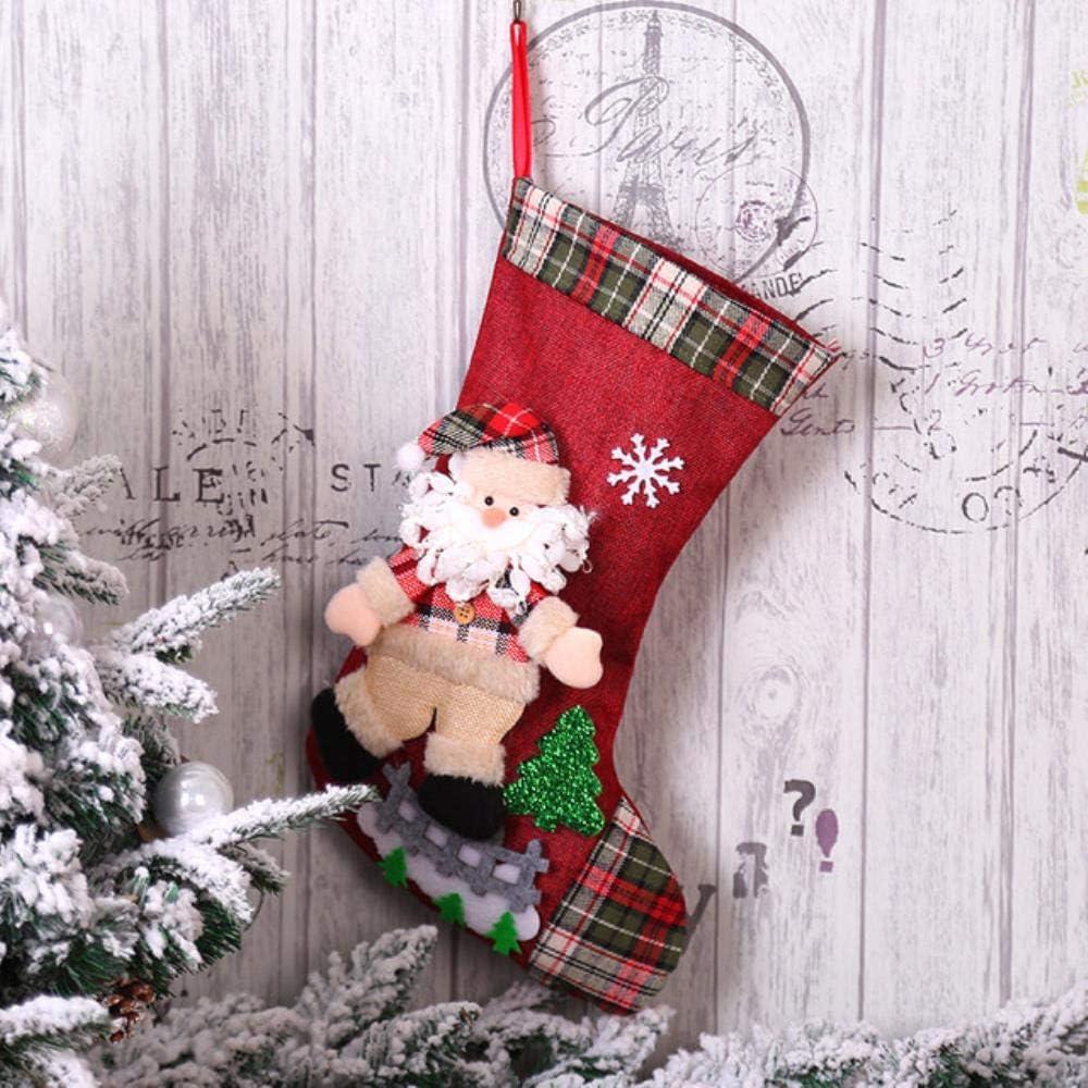 CAACXV Bolsa de Almacenamiento de Regalo Bolsa de Dulces Bolsa de Regalo de año Nuevo Calcetines Decoraciones 3PCS, A