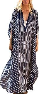 فساتين RanRui Caftan للنساء برقبة على شكل حرف V مخطط مقاس إضافي فستان صيفي طويل مغطى (334) أزرق داكن