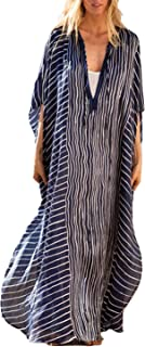 Women Ethnic Print overized Swimsuit Cover up Vneck Short...
