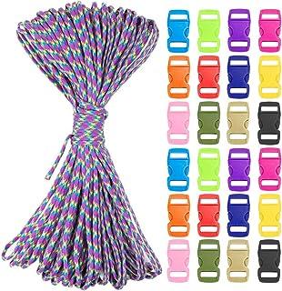 vamei Paracorde Bracelets Corde de Parachute pour Bracelets 12 Corde de Parachute 12 charmes 12 Boucles Nylon et Multifonction Corde Paracorde pour Bracelets Bricolage Laisses Chiens Longes