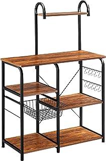 "Mr IRONSTONE Vintage Kitchen Baker's Rack Utility Storage Shelf 35.5"" Microwave Stand 3-Tier+4-Tier Shelf for Spice Rack O..."