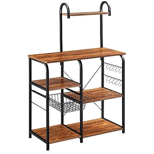 Mr IRONSTONE Vintage Kitchen Baker's Rack Utility Storage Shelf 35.5  Microwave Stand 3-Tier+4-Tier Shelf for Spice Rack Organizer Workstation with 10 Hooks