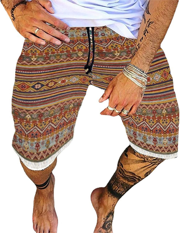 Segindy Men's Retro Trend Printed Casual Shorts Summer Fashion Comfortable Drawstring