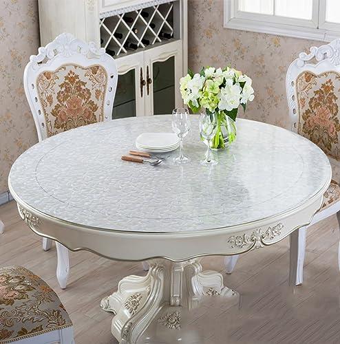 Unbekannt Küchenwäsche Dickes PVC runde Rose scheuern Tischdecke, Weißhe Glas Tischmatten Wasserdichte Kristallplatte Couchtisch Tuch Tischdecke 1.5mm (Farbe   Rose Scrub-1.5mm, Größe   Round-140cm)