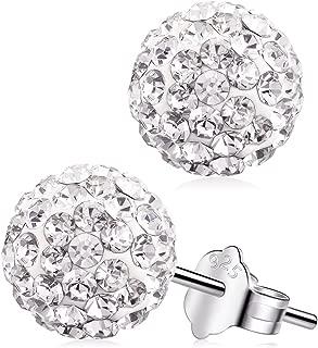 Cubic Zirconia Stud Earrings S925 Sterling Silver Round Diamond Crystal Halo Earring