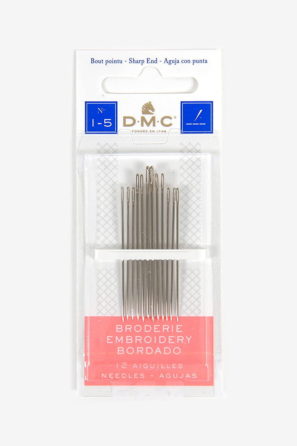 DMC 1765-1 5 Embroidery Hand Popular Needles Now on sale 12-Pack 1-5 Size