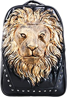Chickle Men's 3D Lion Head Schoolbag Backpack