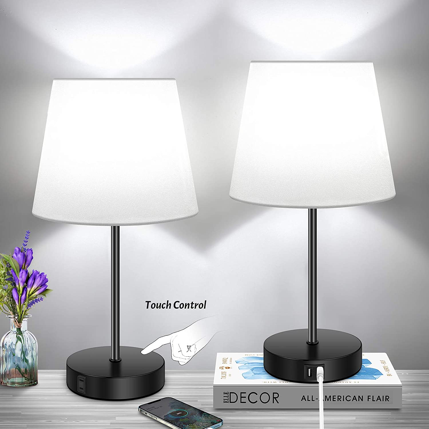 Set of 2 3-Way Dimmable Touch USB Table Control Lamp Opening large release sale with Port Cheap sale