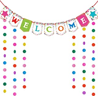 Colorful Welcome Banner with Colorful Circle Dots Garland for Party Back to School Party Supplies Kit First Day of School Banner Vivid Welcome Party Decorations