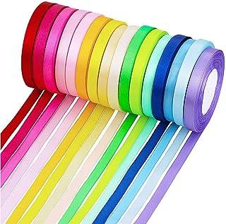 SAIYU Cinta de tela de doble cara de 400 yardas Cinta de raso de seda de satén para arcos Artesanía de regalos Fiesta de boda (16 rollos, 10 mm de ancho, multicolor)