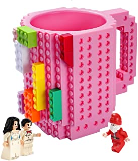 Triumphic Build-on Brick Mugs,with 3 packs of Blocks,Latest Version,Creative DIY Building Blocks Cups for Coffee Water Juice,BPA-free Plastic,Unique Funny Cups,Puzzle Mug,Novelty Gifts for Kids,Pink