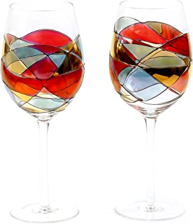 ANTONI BARCELONA Large Wine Glasses Set of 2 (29 Oz) - Handblown & Handmade, Painted Red Wine Glass, Gifts for Women, Birthdays, Anniversaries, and Weddings - 2 Units