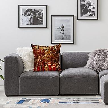 VEIMER Knot Good Fortune SymbolFancyCountry FlowerAnd BirdLinen Throw Pillowcase Sofa Pillow, Cushion Cover Both Sides Print