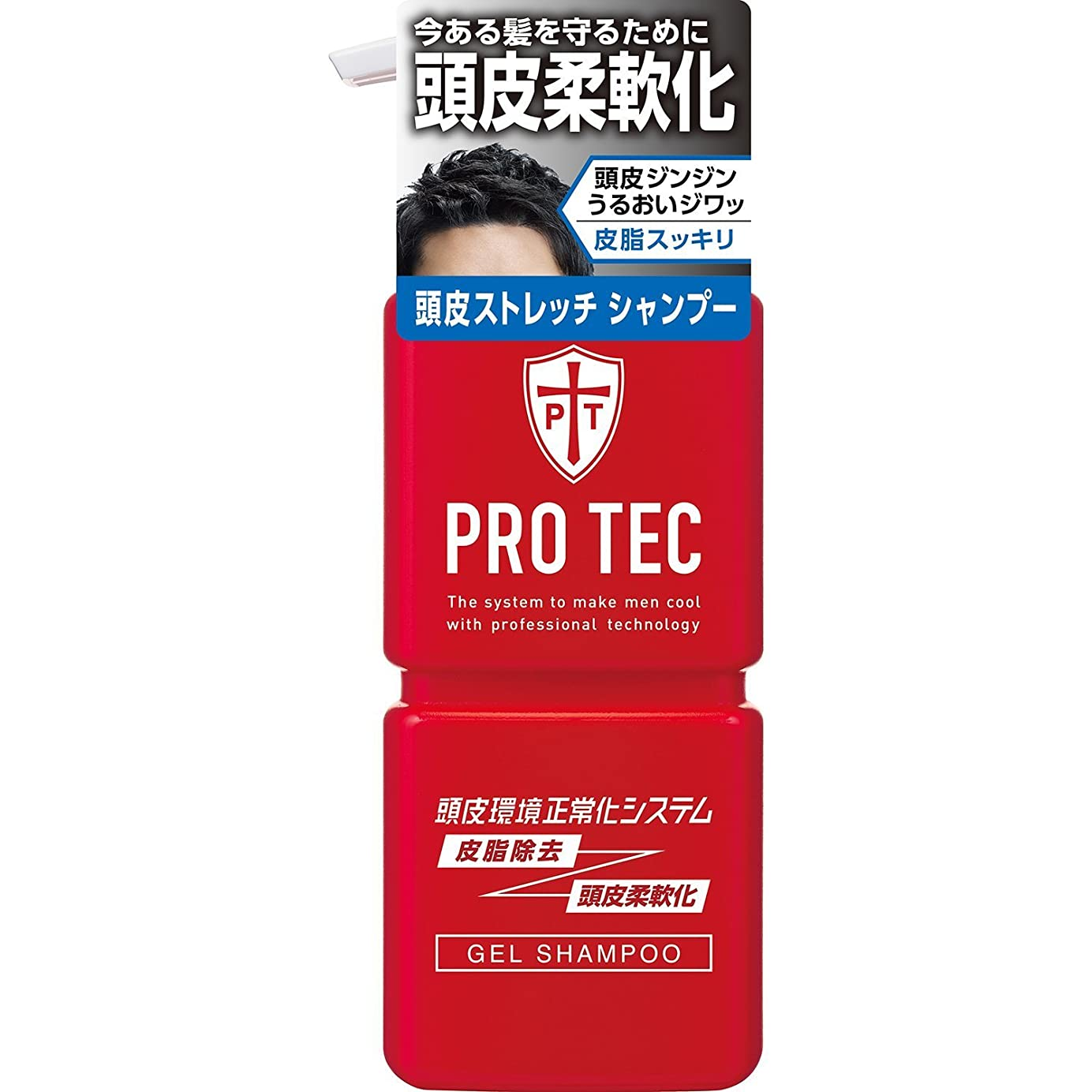 船乗り不屈くるくるPRO TEC(プロテク) 頭皮ストレッチ シャンプー 本体ポンプ 300g(医薬部外品)