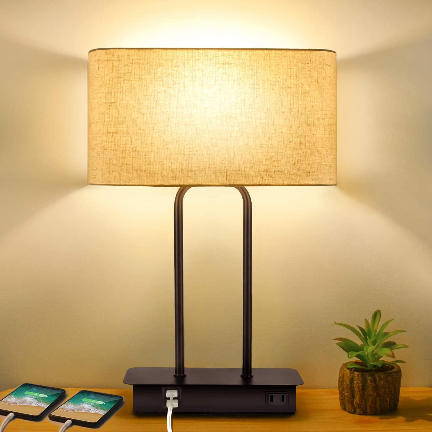 3-Way Dimmable Touch Control Table Lamp with 2 USB Ports and AC Power Outlet Modern Bedside Nightstand Lamp with Fabric Shade and Metal Base for Guestroom Bedroom Living Room & Hotel LED Bulb Included
