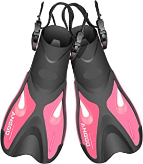 ANGGO Adult Short Swim Fins with Adjustable Strap for Snorkeling and Diving