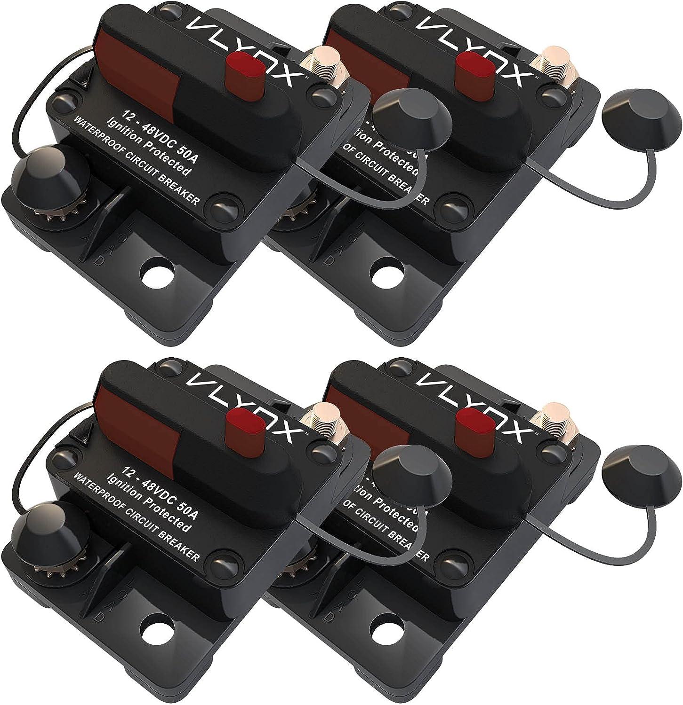 Bombing free shipping VLYNX QTY4 VCB50 12V 24V 36V 48VDC Amp LIFT 50 Resettable GATES Excellent