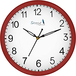 Story@Home 10-inchRound Shape Wall Clock with Glass for Home/Kitchen/Living Room/Bedroom/Office (Red)