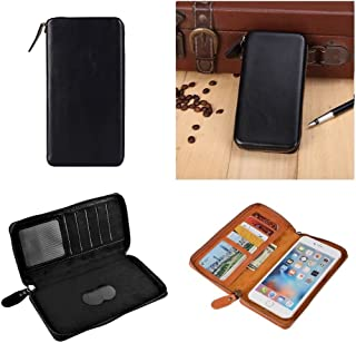 DFV mobile - Executive Wallet Case with Magnetic Fixation and Zipper Closure for Nokia Lumia 520 - Black