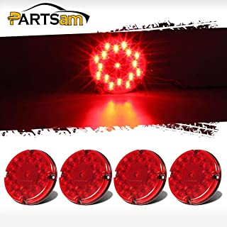 Partsam 4Pcs Red 7' Round Bus Stop Brake Tail Lights STT 17 LED Sealed LED Stop/Turn/Tail School Bus Light for Trucks Trailers Towing RVs Buses ATVs Utility Vehicles