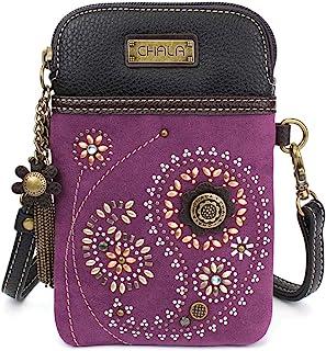 Crossbody Cell Phone Purse-Women Canvas Multicolor Handbag with Adjustable Strap