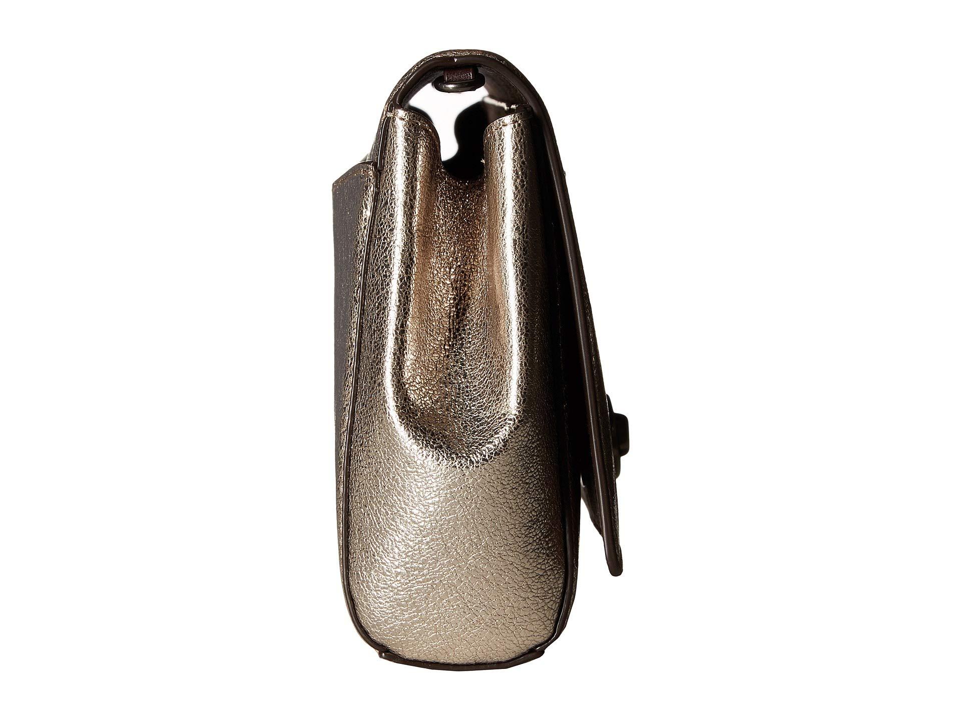 Chain Turnlock With Metallic Coach Clutch V5 platinum Leather xnXHwqB