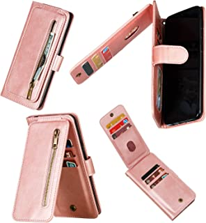 Miagon Multi-functional Zipper Wallet Case for Samsung Galaxy A10,Magnetic Handbag Dual Folio Leather Stand Flip Case Cover with 9 Card Slots Wrist Strap,Rose Gold
