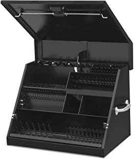 Montezuma – SE250B – 26-Inch Portable TRIANGLE Toolbox – Multi-Tier Design – Heavy-Duty Steel Construction – SAE and Metric Storage Chest – Weather-Resistant Toolbox – Lock and Latching System