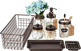 Mason Jar Bathroom Accessories Set (8 PCS) - Lotion Soap Dispenser,Toothbrush Holder,2 Apothecary Jars, Flower Vase,Soap D...