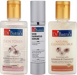 Dr Batra's Skin Toner - 100 ml, Natural Cleansing Milk - 100 ml and Skin Fairness Serum - 50 g (Pack of 3 for Men and Women)