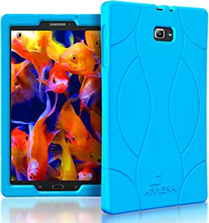 Armera Samsung Galaxy Tab A 10.1 Case (SM-T580), High Impact Resistant Slim Heavy Duty Anti Slip Light Weight Kids Friendly Shockproof Protective Rugged Silicone Cover (Soft Wave - Blue)