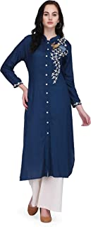 Pret A Porter Blue Colored Rayon Designer Kurti With Palazzo Pants (Stitched)