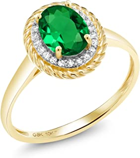 Gem Stone King 10K Yellow Gold Diamond Engagement Ring 1.15 Ct Oval Green Simulated Emerald