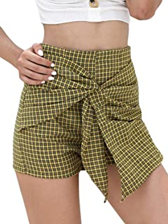 Women's Asymetric High Waist Knot Front Checked Chic Shorts Mini Shorts