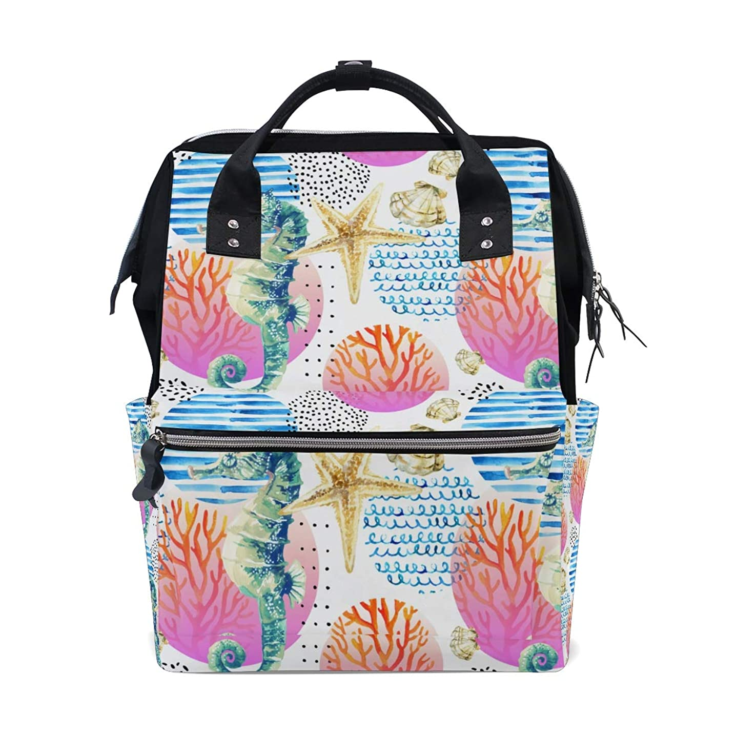 Watercolor Seahorse Seastars School Backpack Large Capacity Mummy Bags Laptop Handbag Casual Travel Rucksack Satchel For Women Men Adult Teen Children