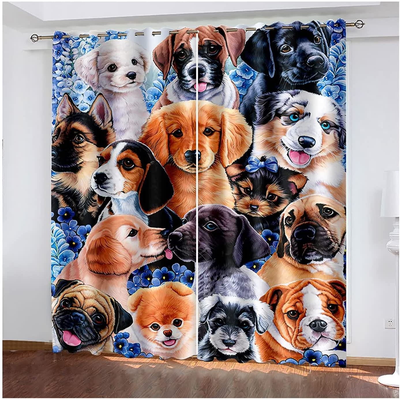 Daesar Window Curtains Credence 2021 autumn and winter new 2 Panels Cute Pu Blackout Eyelet Curtain
