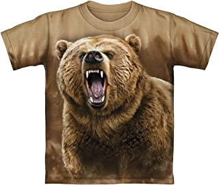 Grizzly Bear Brown Tie-Dye Youth Tee Shirt