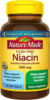 Nature Made Niacin 500mg Flush-Free Softgels, 60 Count, Helps Support Nervous System Function