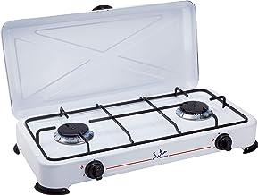 Jata CC705 Cocina de Gas para Camping con 2 Quemadores Con Tapa y Parrilla Apta para Todo Tipo de Gas Licuado
