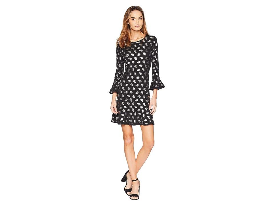 MICHAEL Michael Kors Pais Foil Flounce Dress (Black/Silver Foil) Women