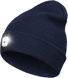 Beanie Hat with Light, Perfect Dad Gifts in Christmas, USB Rechargeable Head Torch Cap, Super Bright Hands Free Caps, Unis...