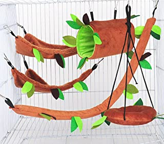 Hamster Nest Set 5 PCS/Small Pet Cosy Bed/Tunnel Tent/ Hammock Tent, Pets Bed Hideout Cave, Universal Pet House,Cage Hangi...
