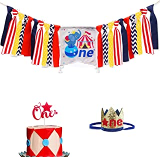 Circus Carnival 1st Birthday Decorations, Circus Carnival Kids 1st Birthday Party Supplies, Circus Elephant One Highchair Banner, Red Star One Cake Topper, Baby Girl Boy First Birthday Decorations Supplies with Red Star One Crown