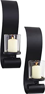 Art Maison Bold II Metal with Glass Candle Sconce, 3.5x14, Black, 2 Piece