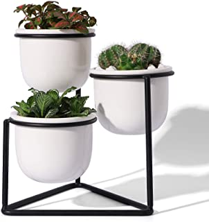 3 Piece Ceramic Succulent Planter Pots - 3 Inch Modern Century Indoor Cactus Container with Black Metallic Stand - Suspend...