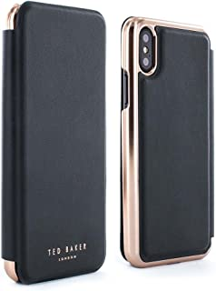 Ted Baker Shannon Mirror Folio Case for iPhone X/XS, Premium Folio Cover for Professional Women - Black/Rose Gold