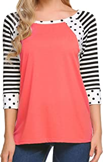 Zeagoo Women's Polka Dots Shirt مخططة 3/4 كم كاجوال برقبة واسعة S-XXXL