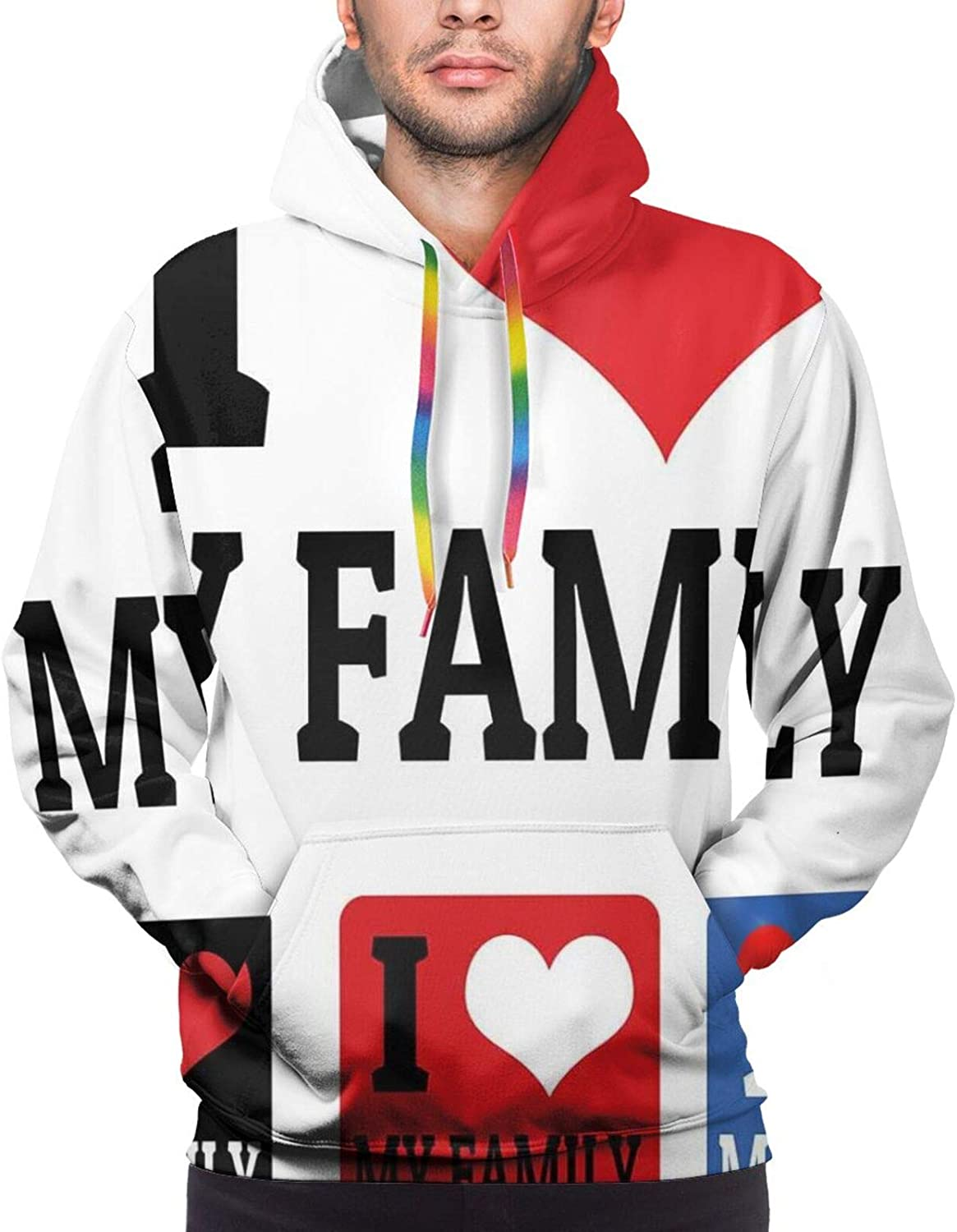 Men's Hoodies Sweatshirts,Signs and Labels I Love My Family Emblems Stamp Colorful Retro Classic Composition