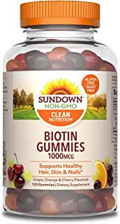 Biotin Gummies by Sundown, Supports Healthy Hair, Skin & Nails, Non-GMOˆ, Free of Gluten, Dairy, Artificial Flavors, 1000 ...